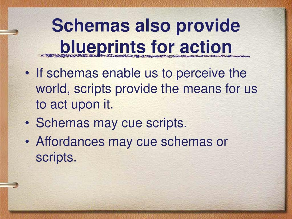 Schemas also provide blueprints for action