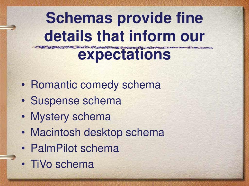 Schemas provide fine details that inform our expectations