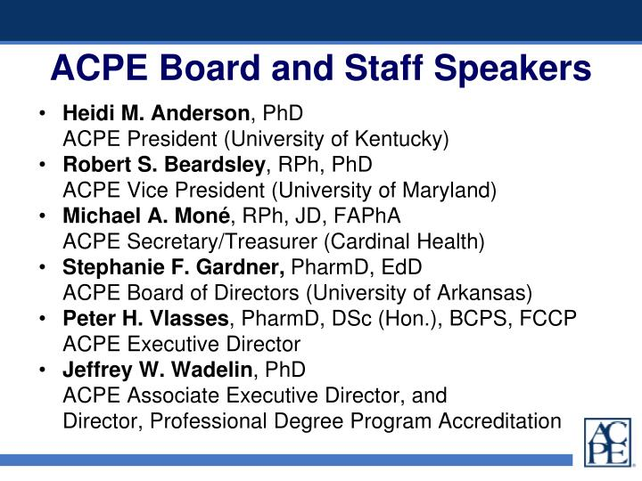 Acpe board and staff speakers