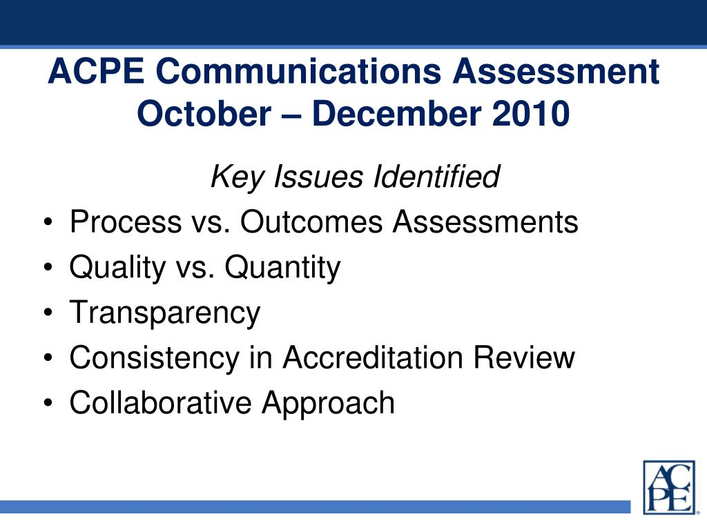 ACPE Communications Assessment