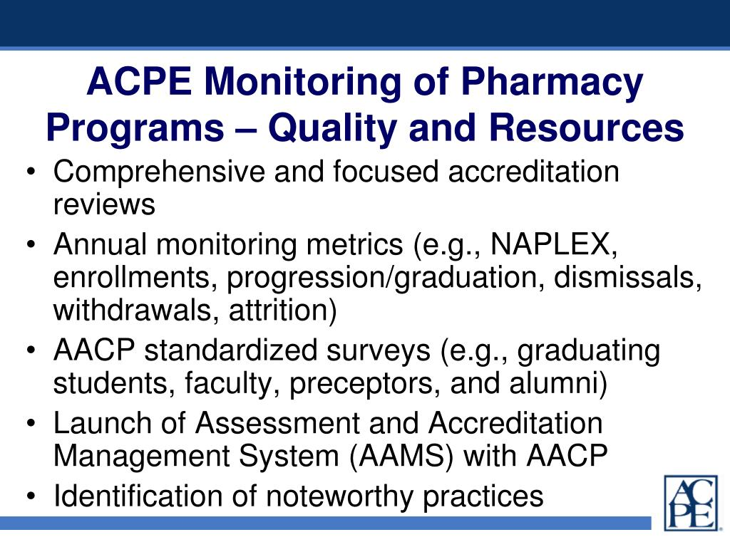 ACPE Monitoring of Pharmacy Programs – Quality and Resources
