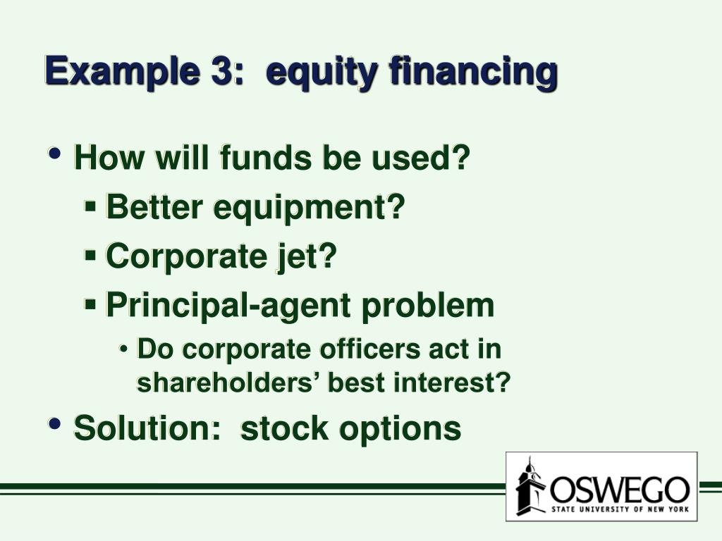 Example 3:  equity financing