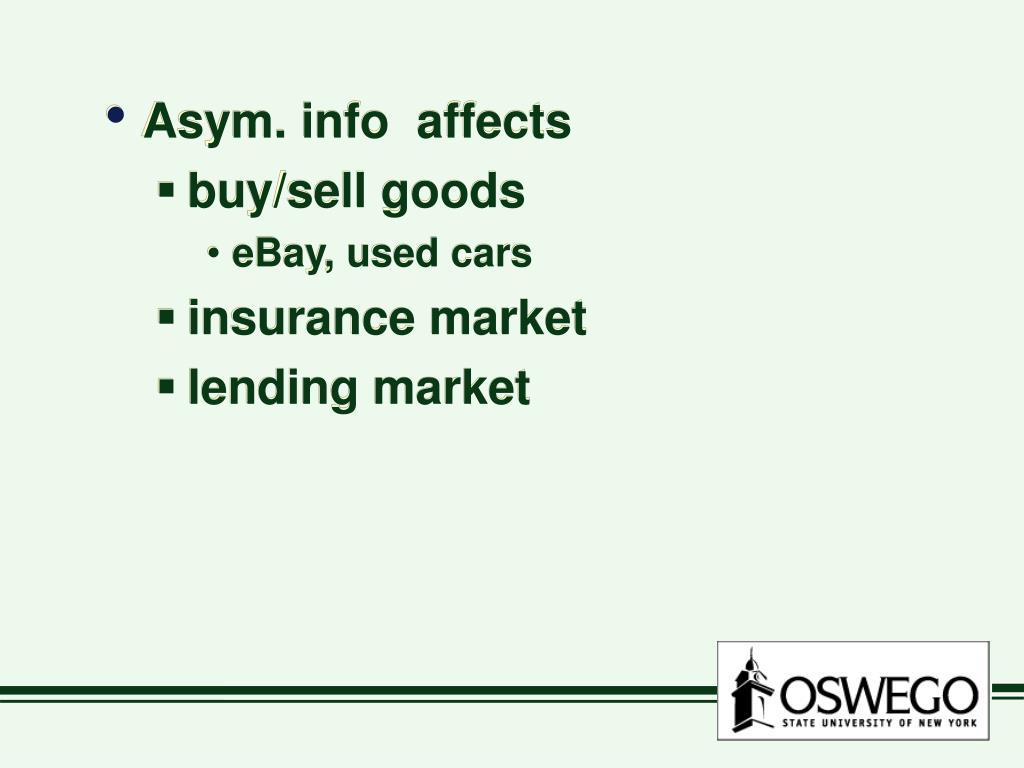 Asym. info  affects