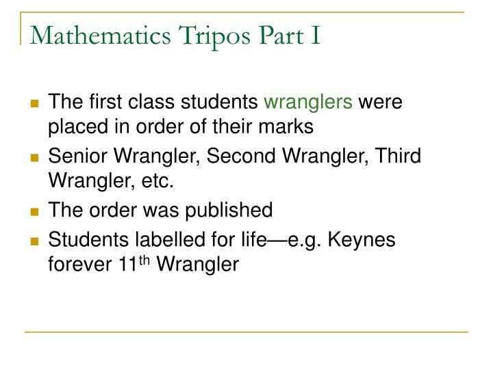 Mathematics Tripos Part I