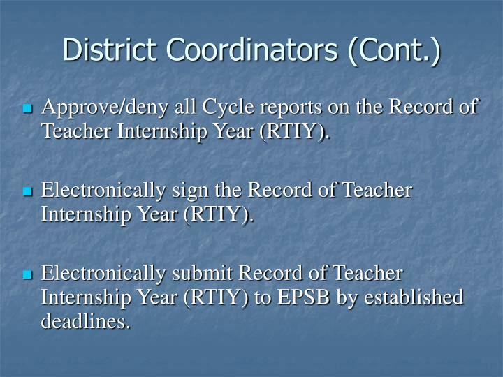 District Coordinators (Cont.)