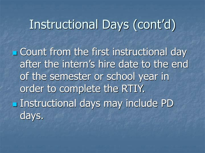 Instructional Days (cont'd)