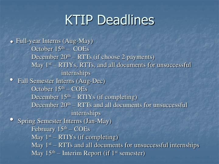 KTIP Deadlines
