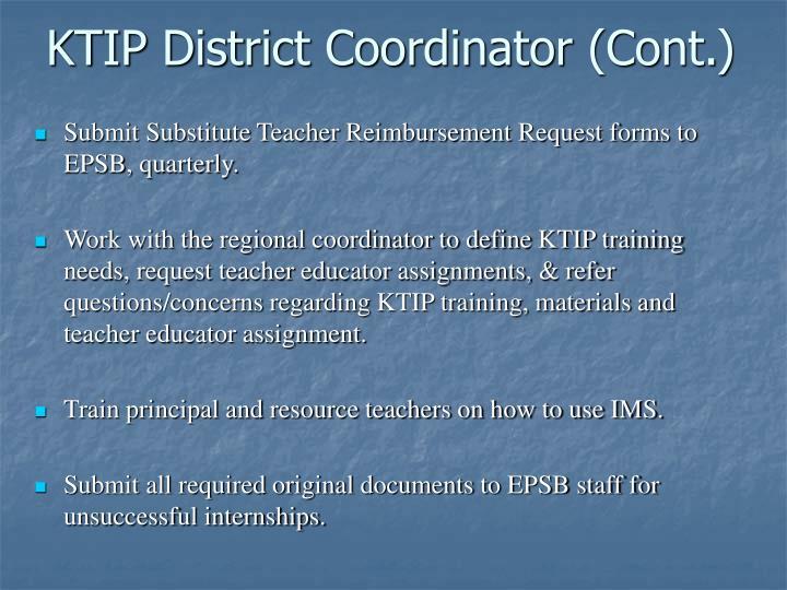 KTIP District Coordinator (Cont.)
