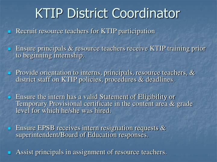 KTIP District Coordinator