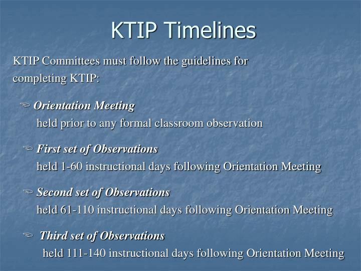 KTIP Timelines