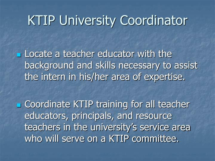 KTIP University Coordinator