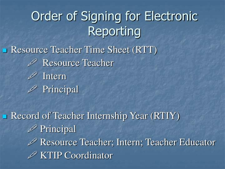 Order of Signing for Electronic Reporting