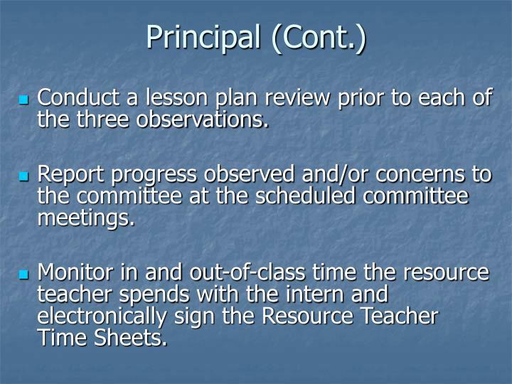 Principal (Cont.)