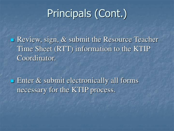 Principals (Cont.)