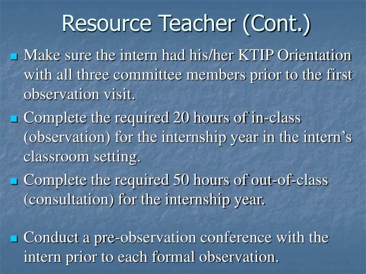 Resource Teacher (Cont.)