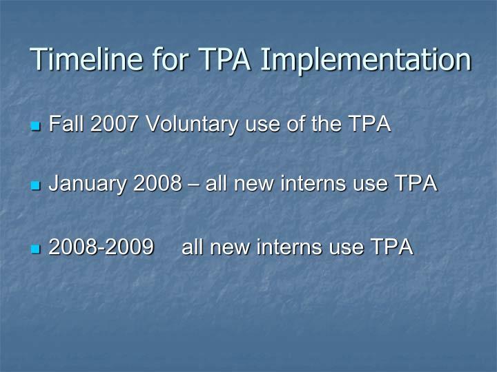 Timeline for TPA Implementation
