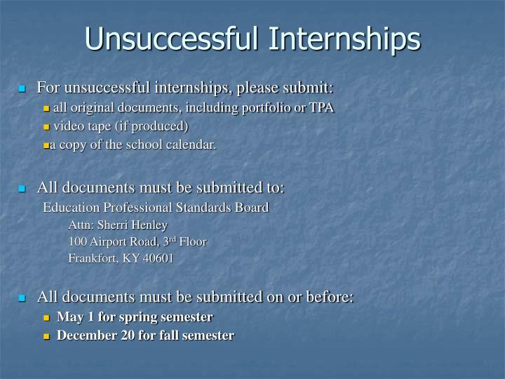 Unsuccessful Internships