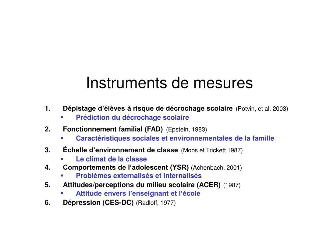 Instruments de mesures