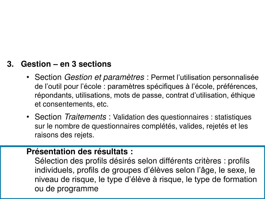 Gestion – en 3 sections