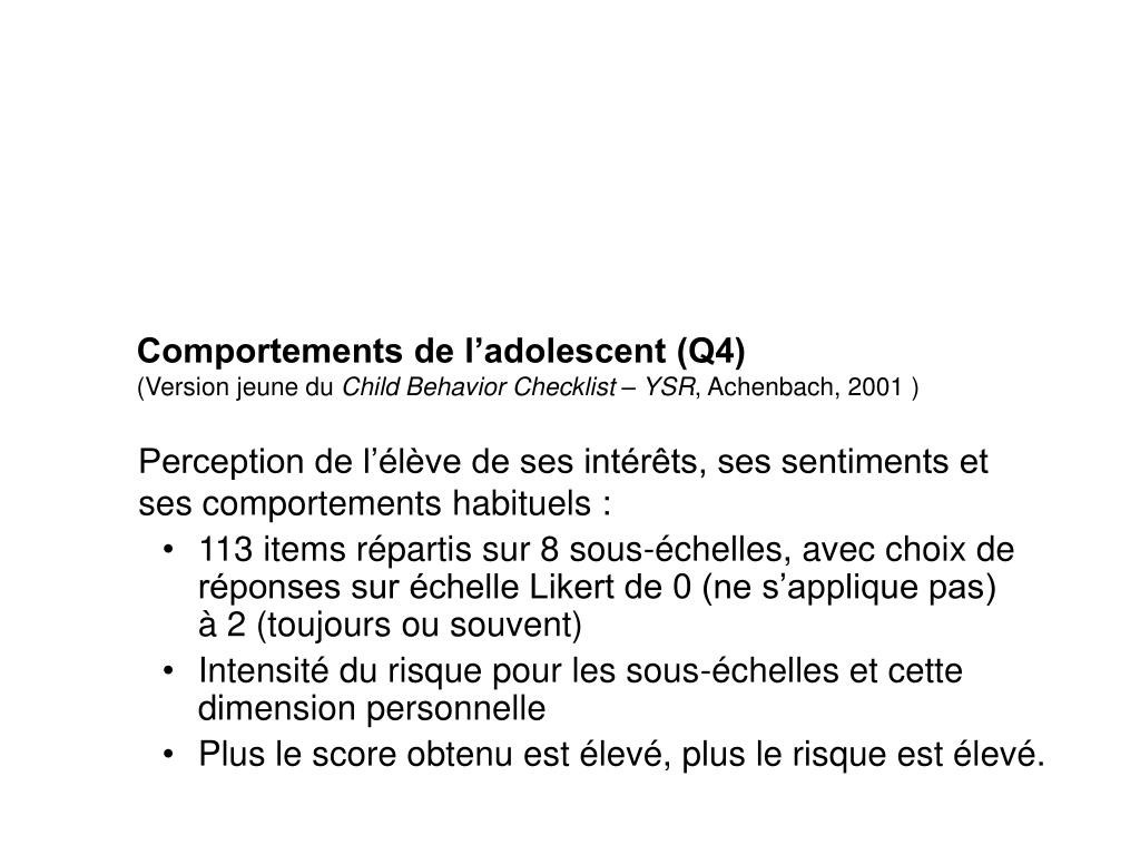 Comportements de l'adolescent (Q4)