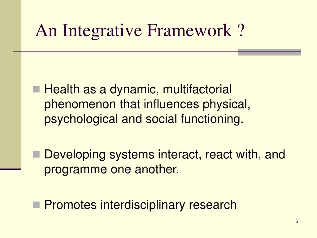 An Integrative Framework ?