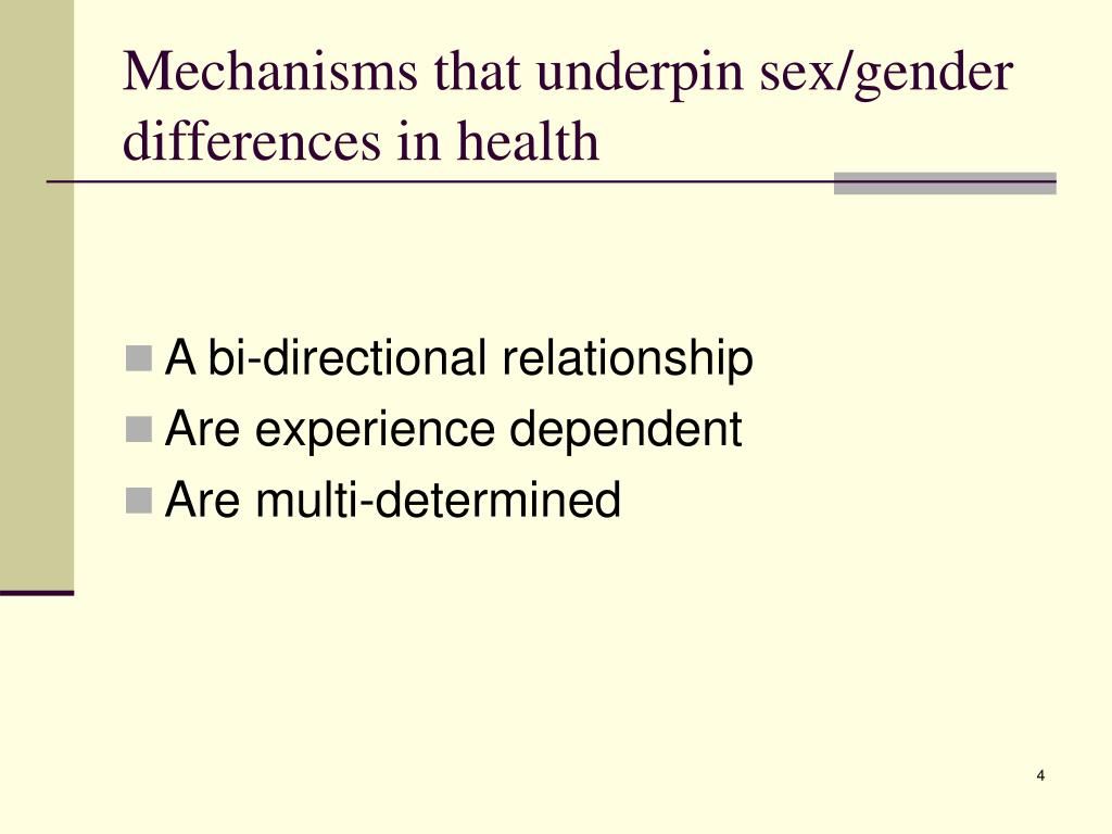 Mechanisms that underpin sex/gender differences in health