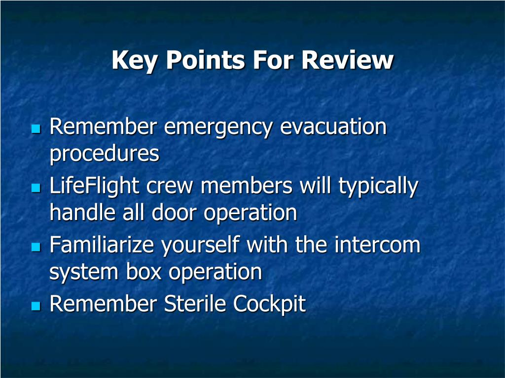 Key Points For Review