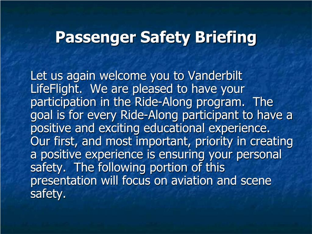 Passenger Safety Briefing