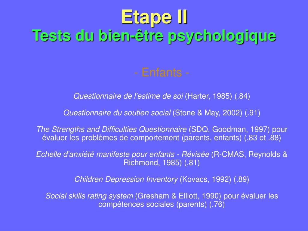 Etape II