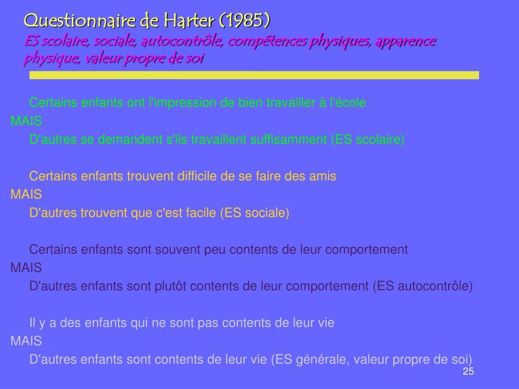 Questionnaire de Harter (1985)