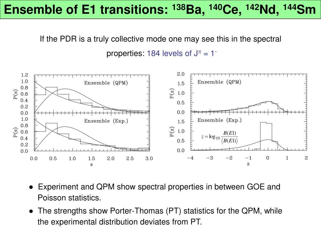 Ensemble of E1 transitions: