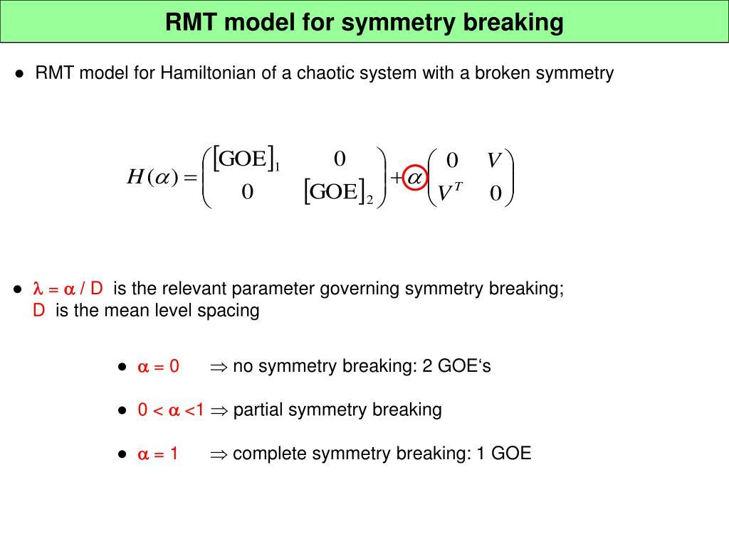 RMT model for symmetry breaking