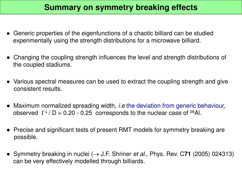 Summary on symmetry breaking effects
