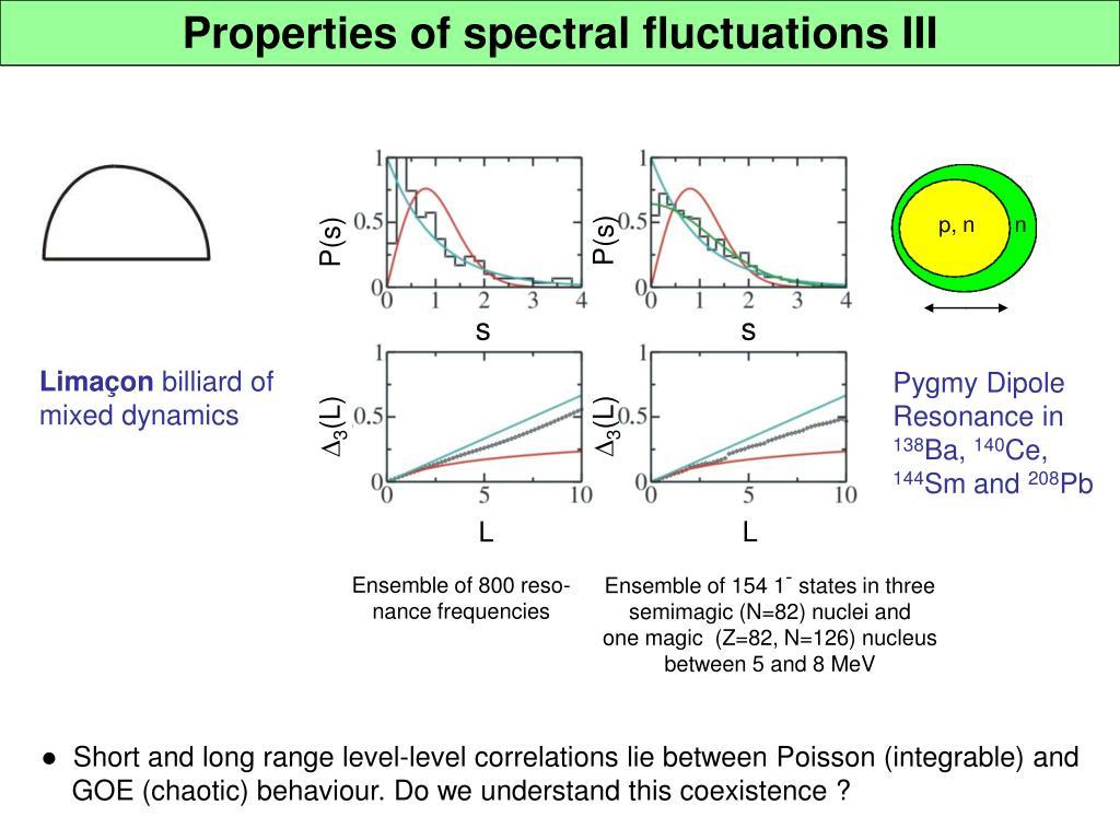 Properties of spectral fluctuations III