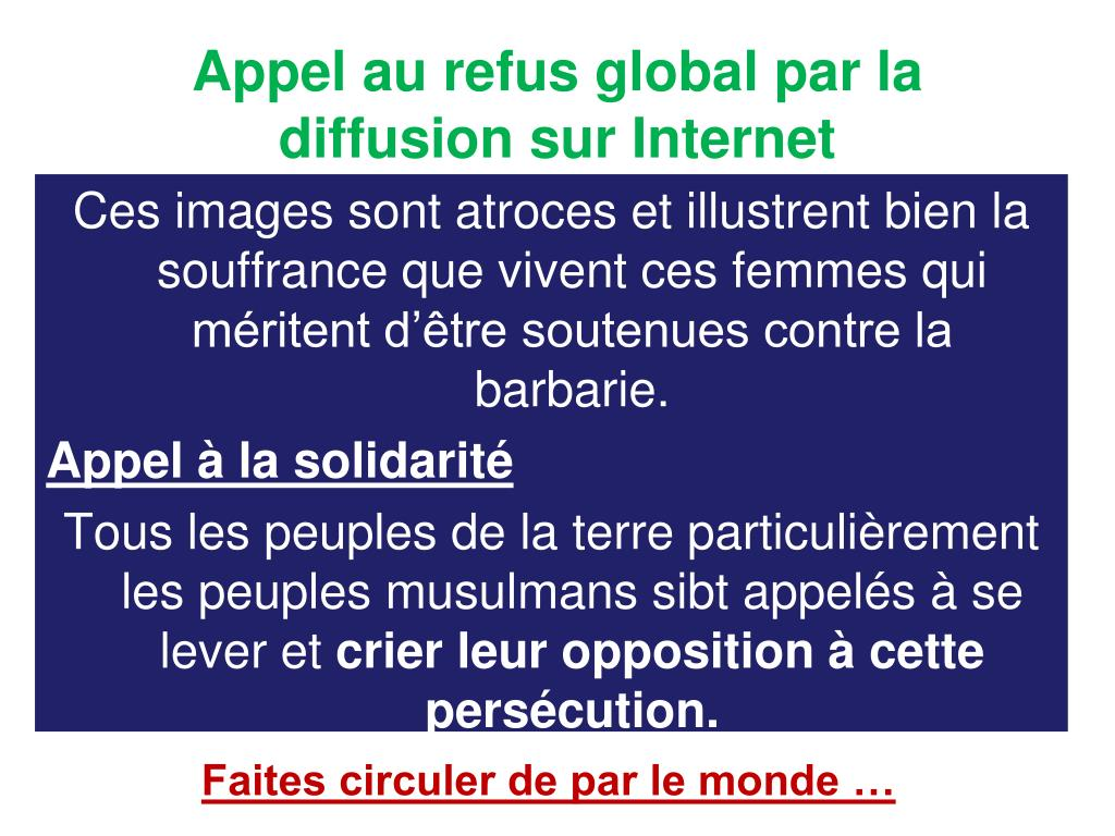 Appel au refus global par la diffusion sur Internet