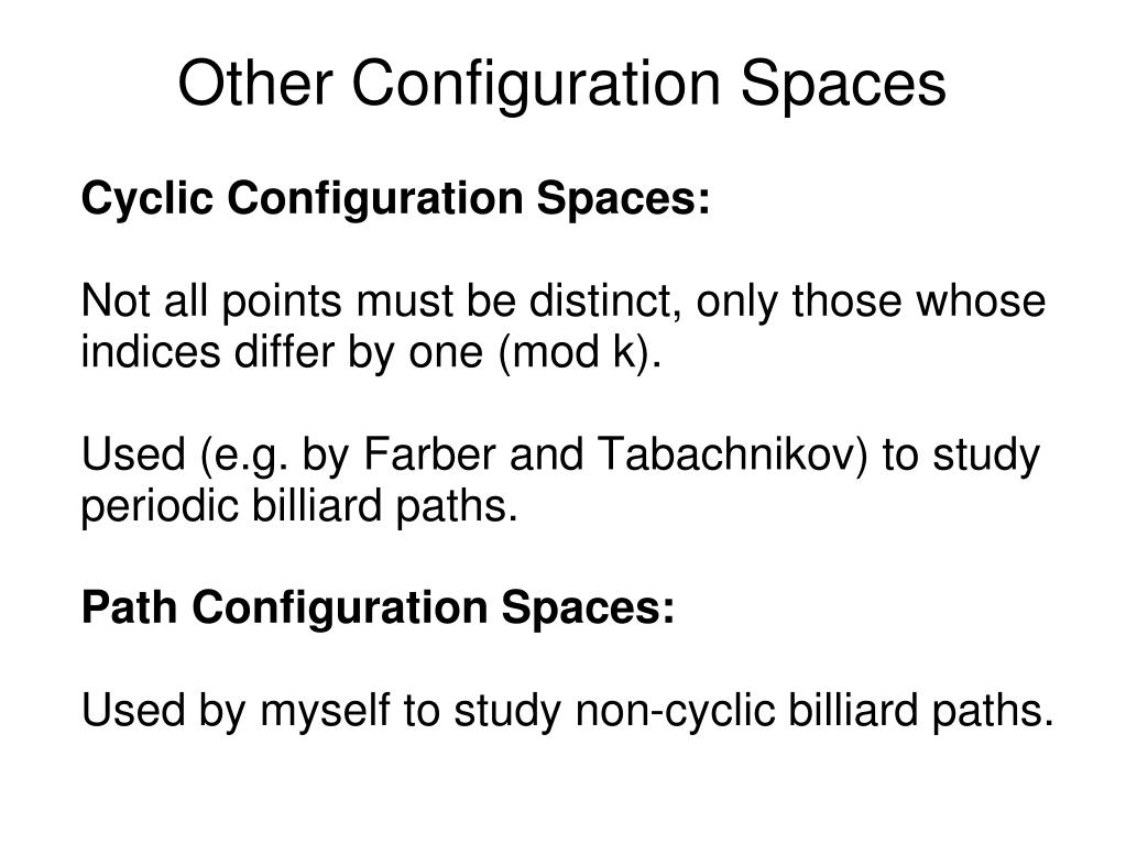 Cyclic Configuration Spaces: