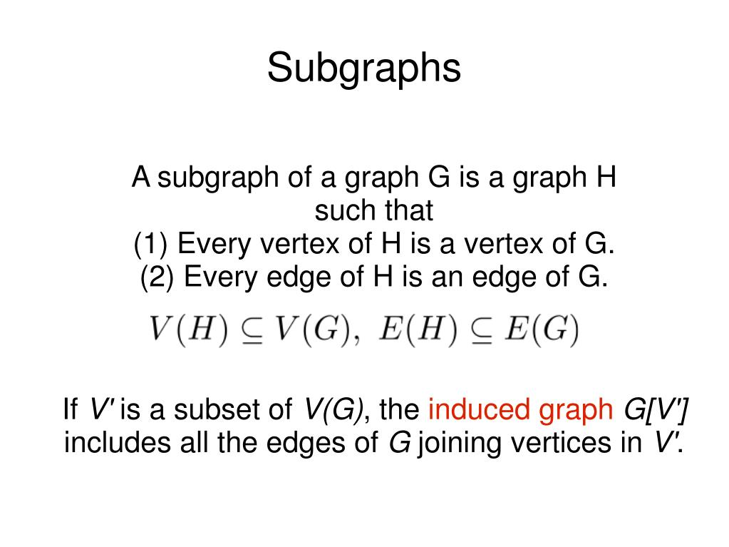 A subgraph of a graph G is a graph H