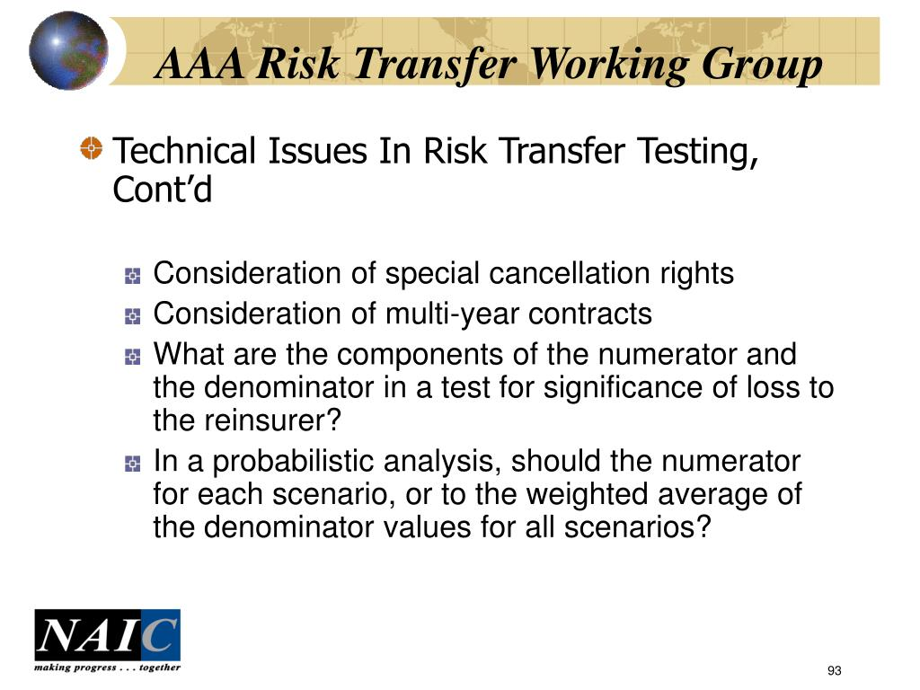 AAA Risk Transfer Working Group