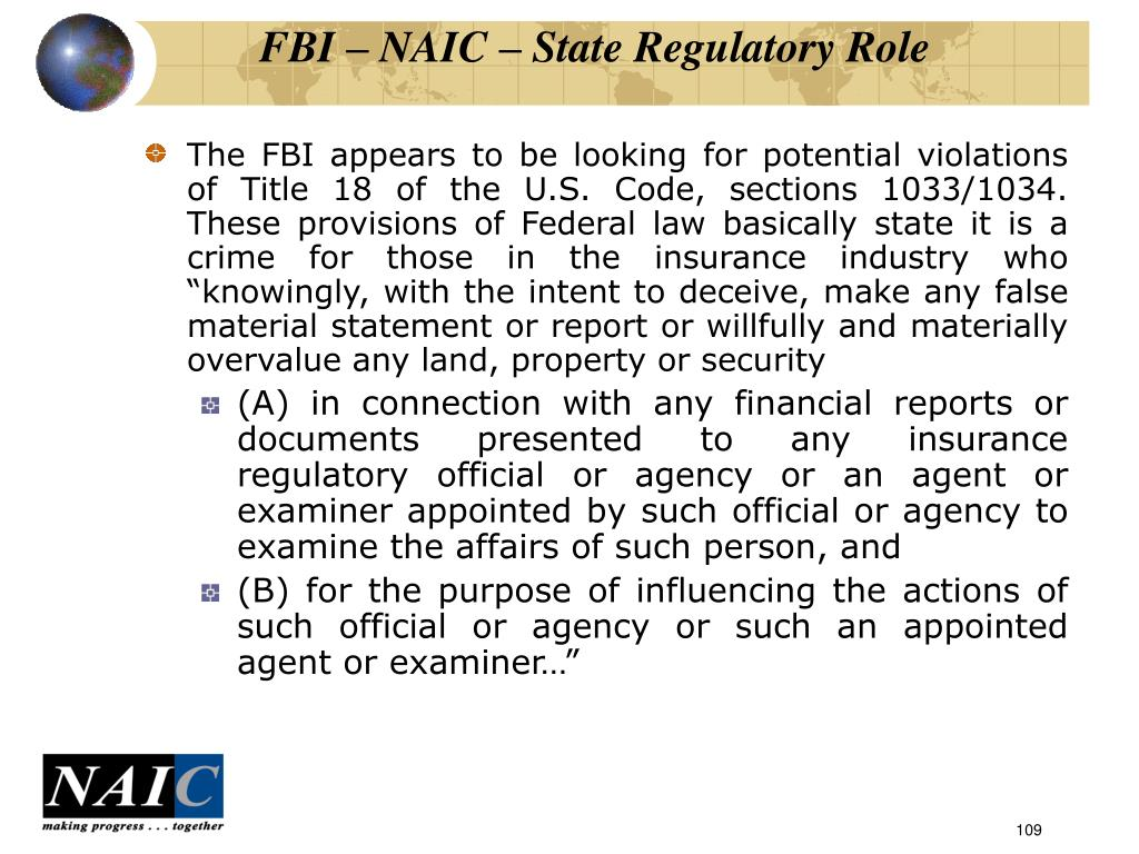 FBI – NAIC – State Regulatory Role