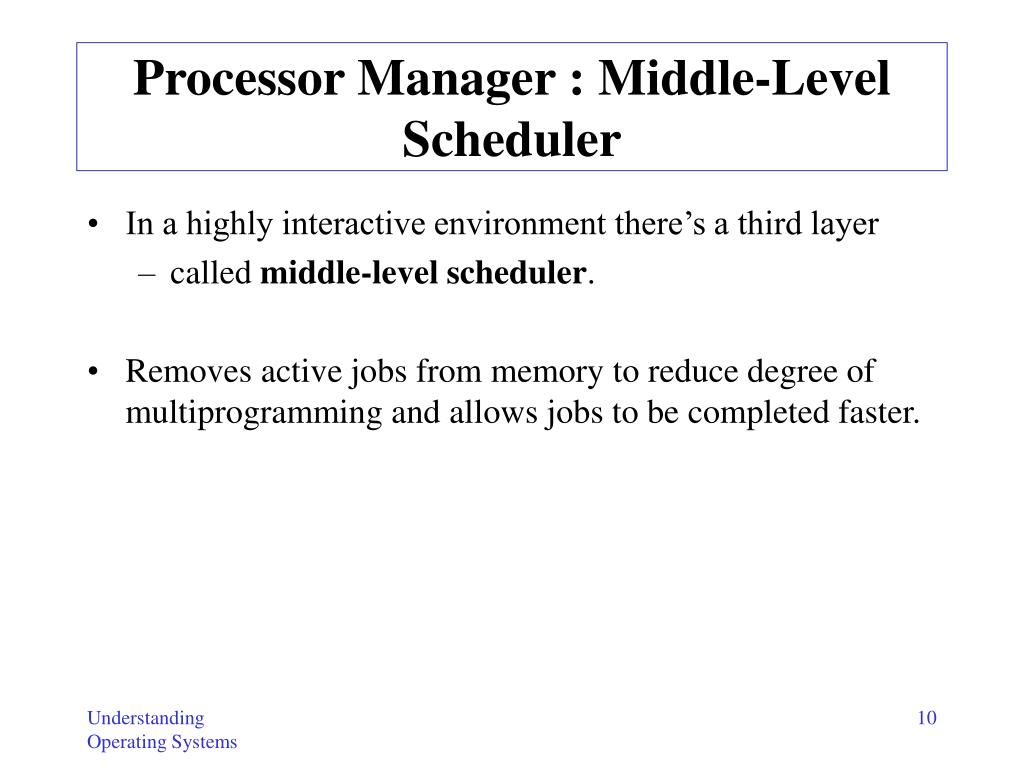 Processor Manager : Middle-Level Scheduler