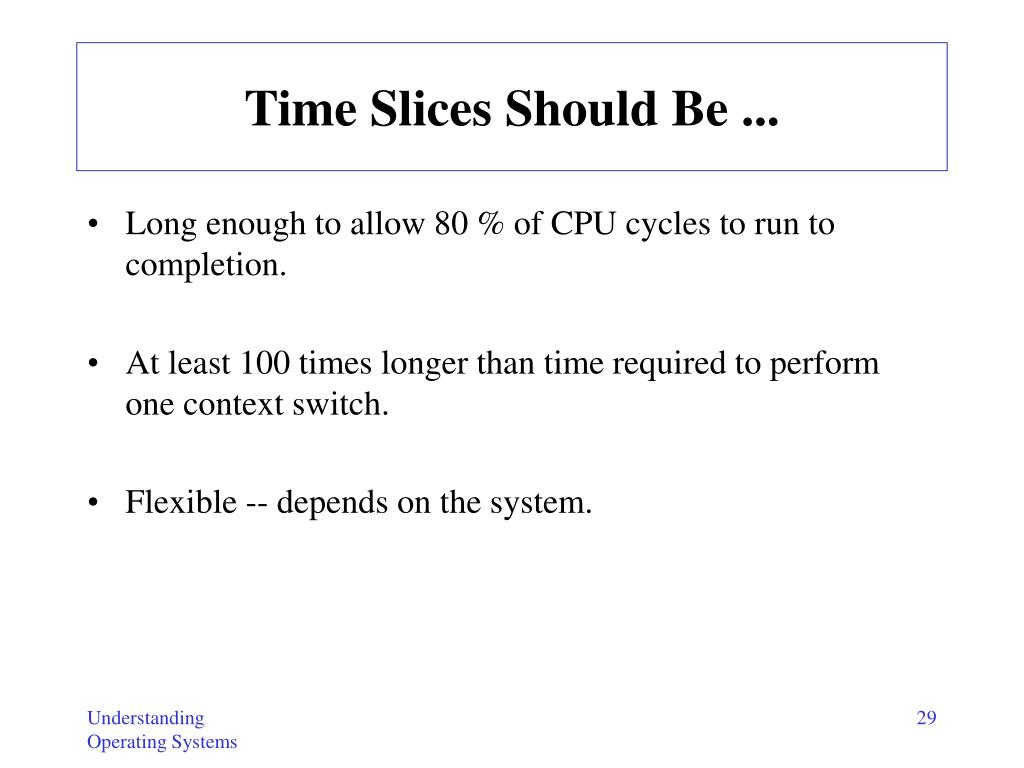 Time Slices Should Be ...