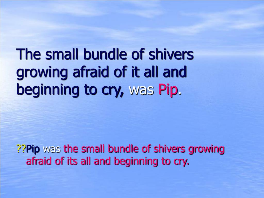 The small bundle of shivers growing afraid of it all and beginning to cry,