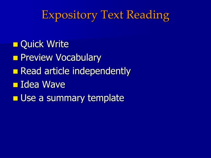 Expository Text Reading