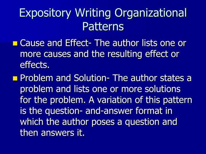 Expository Writing Organizational Patterns