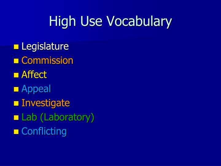 High Use Vocabulary
