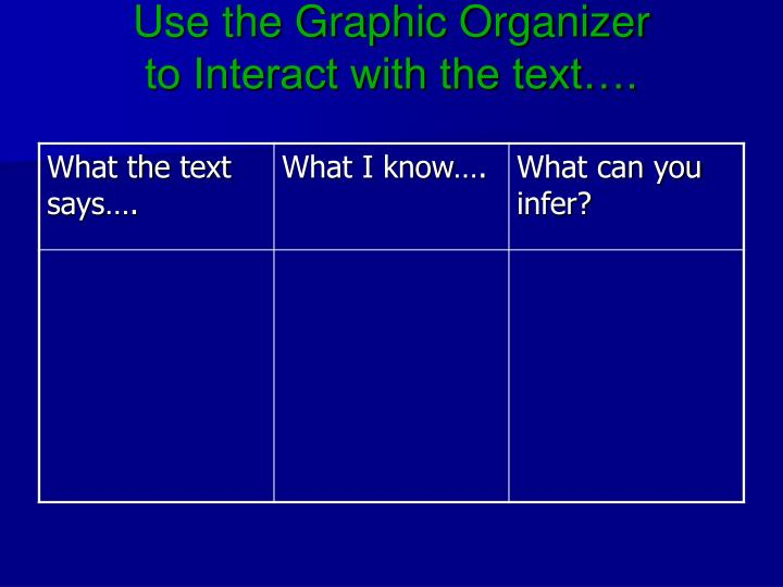 Use the Graphic Organizer
