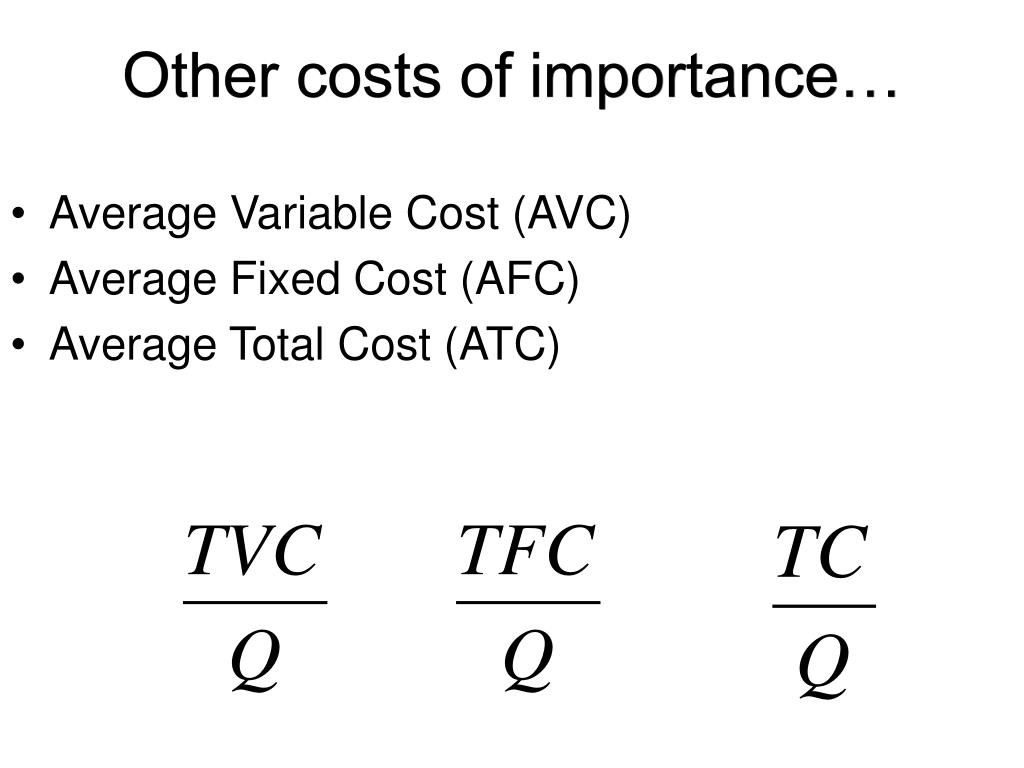 Other costs of importance…