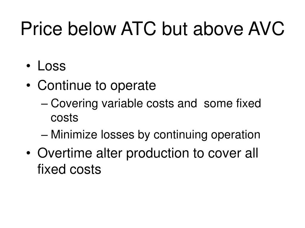 Price below ATC but above AVC
