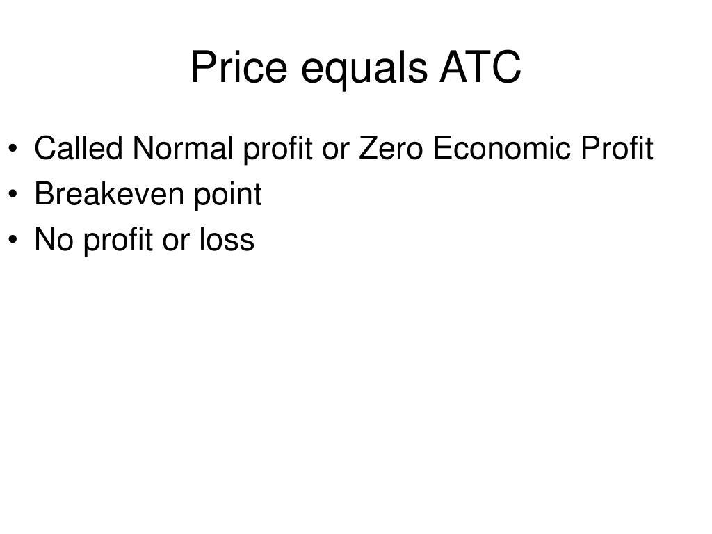 Price equals ATC