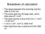 breakdown of calculation